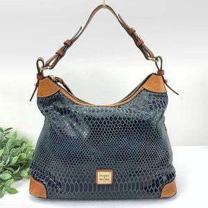 Dooney & Bourke Erica Hobo Bag Navy Snakeskin Leat